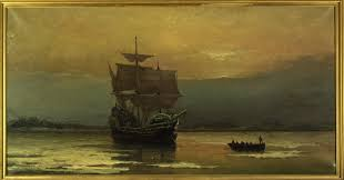 first thanksgiving at plymouth mayflower on her arrival at plymouth harbor matted print 16