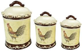 3 piece canister set morning rooster collection
