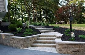 Retaining Wall Stairs Design Paver Stairs Retaining Wall Entryways Steps And Courtyard Lehigh