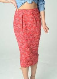 red bandana printed skirt