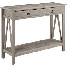 linon titian console table with two drawers rustic gray walmart com
