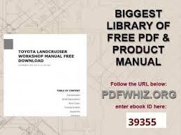 toyota landcruiser workshop manual free download youtube