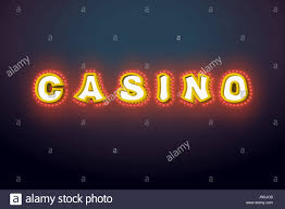 casino sign with glowing lights retro light bulb plate vintage