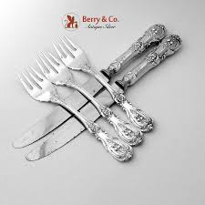 quirinale fish forks knives set sterling silver steel 5 pieces