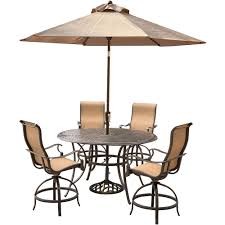 Outdoor Table Umbrella Manor 5 Piece High Dining Bar Set With 56 In Cast Top Table 9 Ft