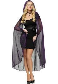 witch vampire purple hooded cape with spiderweb print escapade uk
