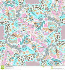 seamless hand drawn pattern with abstract leaves and flowers on