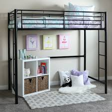 Bunk Bed With Play Area by Amazon Com Walker Edison Twin Metal Loft Bed Black Kitchen U0026 Dining