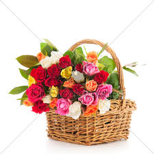 Colorful Roses Colorful Bouquet Roses In Basket Gl Stock Images