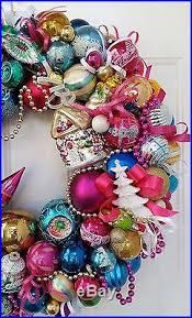 24 vintage retro glass ornament wreath pixie