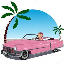 cartoon convertible car in pink convertible car from the 50 stock vector puchalt