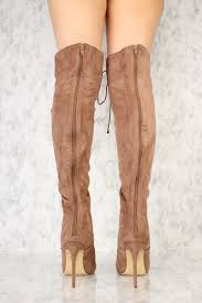 s boots taupe taupe front lace up pointy toe the knee high heel ami
