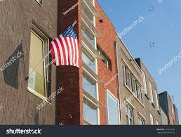 Outside Flag American Flag Hanging Outside During July Stock Photo 114132790