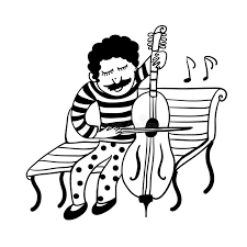drawing of a street musician in funny pants in polka dots playing