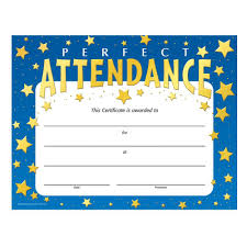 perfect attendance stars design gold foil stamped certificates