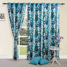 Turquoise And Grey Curtains Colorful Tropical Palm Cotton Door Curtains 54 X 84 Inch