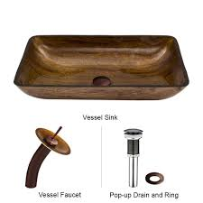 vigo rectangular vessel sink in amber sunset with waterfall faucet
