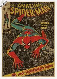 Superhero Home Decor Vintage Classic Comics Famous Superhero Spiderman Poster Bar Cafe