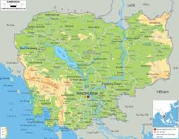 Physical Map Of Southwest Asia by Physical Map Of Cambodia Ezilon Maps