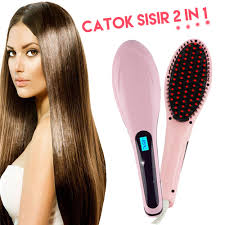 Catok Ion hair brush electric comb hair straightener sisir catok ion 2 in 1