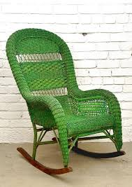A Rocking Chair Vintage Wicker Rocking Chair With Green Color Nytexas