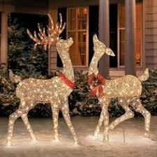 lawn reindeer with lights glitter sequin buck doe christmas decor home stuff pinterest