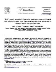 Seeking On Brief Report Impact Of Classroom Presentations About Health And