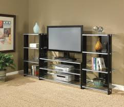 living room wall unit storage brown wooden entertainment center