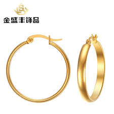 allergy free jewelry fashion accessories 29mm stainless steel stud earings woman golden