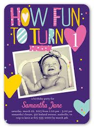 fun to turn one 5x7 invitation 1st birthday invitations