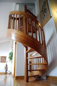 Interior Wood Railing Decorations Excellent Small Wood Spiral Stairscase Design With