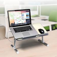 Laptop Desk With Speakers Adjustable Ergonomic Laptop Cooling Table With Fan Aluratek