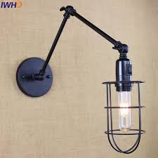 sconce light with switch loft industrial iron cage vintage led wall l switch loft