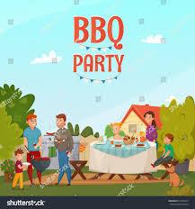 Backyard Cartoon Colored Cartoon Barbecue Party Poster Family Stock Vector