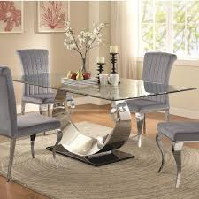 Coaster Manessier Contemporary Glass Dining Table Value City - Value city furniture dining room
