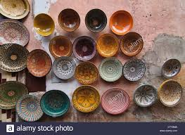 painted dishes for sale in the ancient medina in marrakech