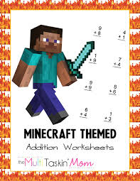 minecraft themed math worksheets
