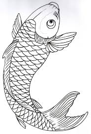 koi fish outline template
