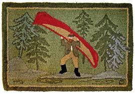 museum logo 2x3 green 100 wool hooked rug