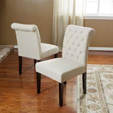 Fabric Dining Chair Low Back Armrests Noble House Natural Ivory Fabric Dining Chairs Set Of 2 Beige