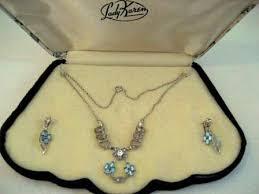 vintage necklace box images Vintage designer sterling silver rhinestone necklace earring set JPG