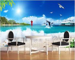 online get cheap wave wall mural aliexpress com alibaba group 3d custom wallpaper photo mural seaside waves blue sky picture room decor painting 3d wall murals