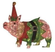 christmas pig christmas outdoor decorations lawn lights decor ornaments lighted
