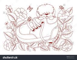 vector illustration zentangl shaggy puppy sitting stock vector