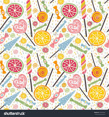 yummy seamless pattern candies lollipops sweet stock vector