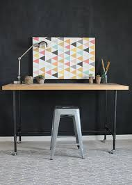 Steel Pipe Desk To Build A Workbench With Butcher Block And Pipe