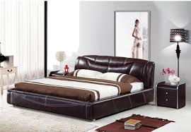 Cheap Good Quality Bedroom Furniture by Genuine Leather Bed Noble Style Black Brown Simple Fasion Double