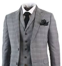 mens light gray 3 piece suit mens light grey smart formal 3 piece slim fit check retro suit prom