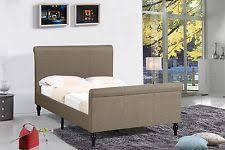 Fabric Sleigh Bed Brown King Size Panel Sleigh Bed Home Decor Bedroom Furniture 4