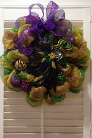 mardi gras mesh mardi gras wreath mardi gras mask purple green gold deco